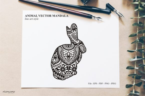 Print on Demand: Animal Vector Mandala Line Art Style 76 Graphic Crafts By Ahsancomp Studio