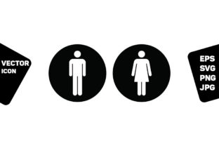 Print on Demand: Bathroom Sign Vector with Man and Woman Graphic Icons By TukTuk Design