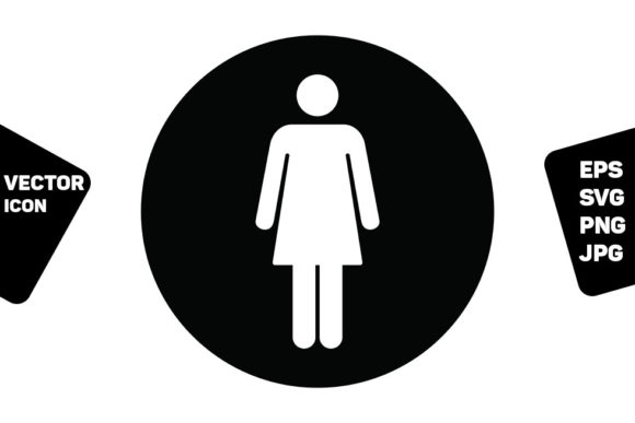 Print on Demand: Bathroom Sign Vector with Woman Symbol Graphic Icons By TukTuk Design