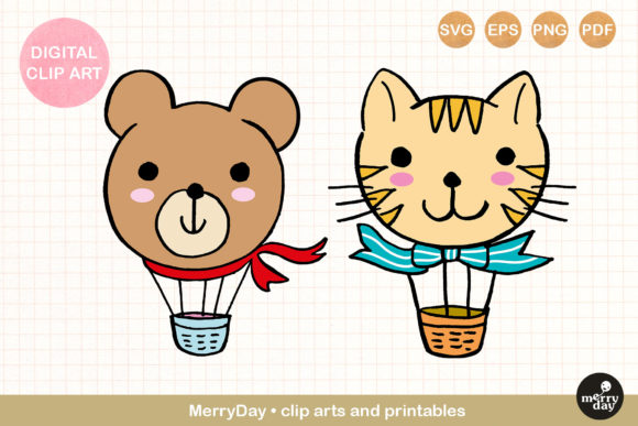 Bear Cat Hot Air Balloon Whimsical Art Graphic Illustrations By MerryDay