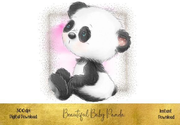 Beautiful Pink Baby Panda Bear Graphic Illustrations By STBB