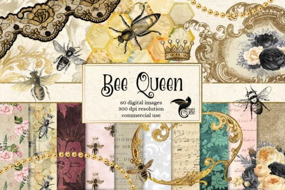 Print on Demand: Bee Queen Digital Scrapbook Kit Gráfico Illustrations Por Digital Curio