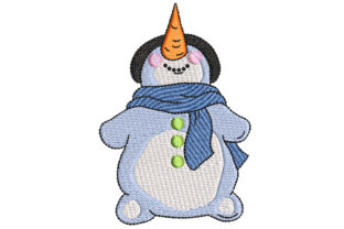 Big Carrot Nose Snowman Christmas Embroidery Design By BabyNucci Embroidery Designs