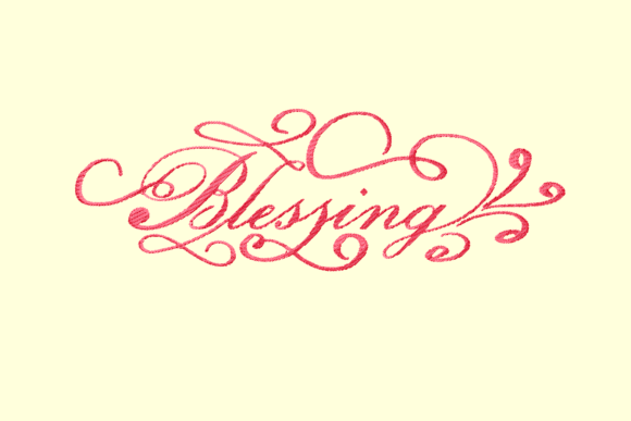 Blessing Decorative Lettering Embroidery Download
