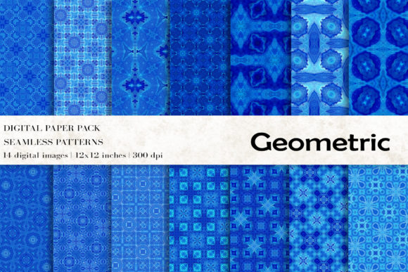 Blue Geometric Digital Papers Graphic Patterns By BonaDesigns
