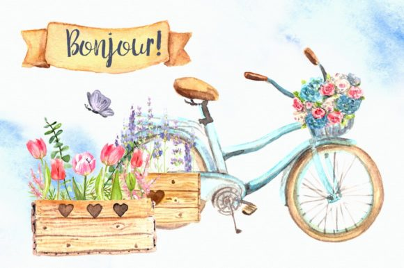 Bonjour! - Watercolor Clip Art Set Graphic Illustrations By tatibordiu
