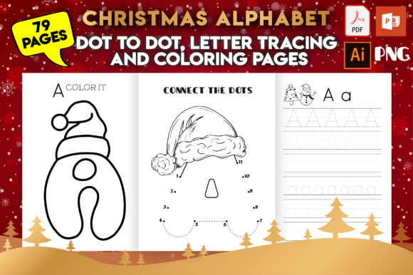Print on Demand: Christmas Alphabet Dot to Dot & Coloring Gráfico KDP Interiors Por MK DESIGN