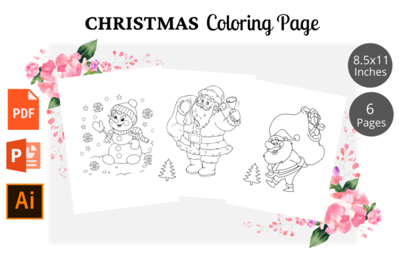 Print on Demand: Christmas Coloring Pages KDP Interior Graphic KDP Interiors By KDPWarrior