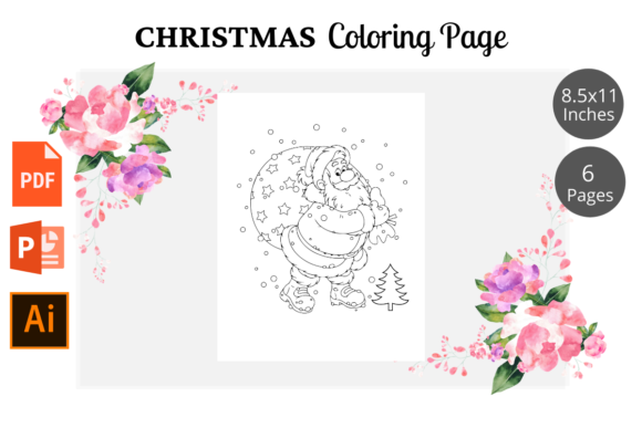 Christmas Coloring Pages KDP Interior Graphic Design