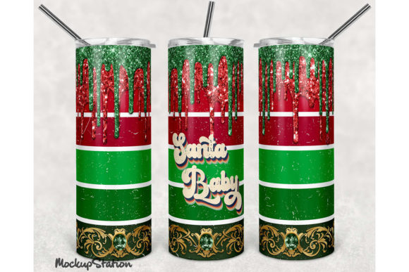 Print on Demand: Christmas Glitter 20 Oz Skinny Tumbler Graphic Crafts By Mockup Station