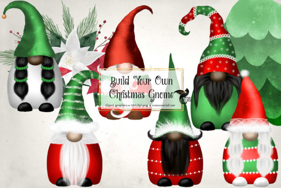 Print on Demand: Christmas Gnomes Clipart Gráfico Ilustraciones Por Digital Curio