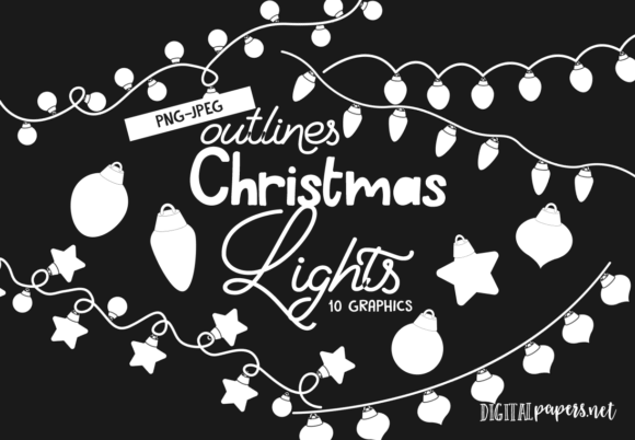 Print on Demand: Christmas Lights - Outlines Gráfico Illustrations Por DigitalPapers