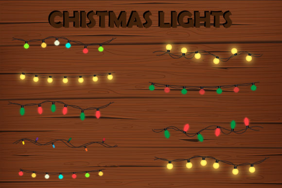 Print on Demand: Christmas Lights for Decoration Graphic Illustrations By IsaraDesign