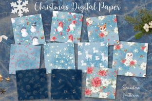 Christmas Watercolor Digital Paper Graphic Patterns By nicjulia