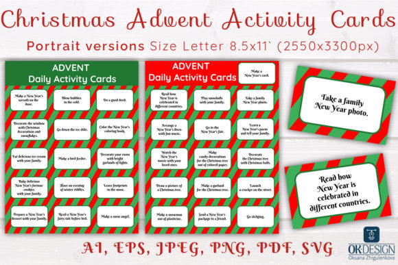 Print on Demand: Christmas Advent Activity Cards SVG. Graphic Print Templates By OK-Design