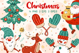 Print on Demand: Christmas Clip Art. New Year Stickers. Graphic Illustrations By FoxBiz