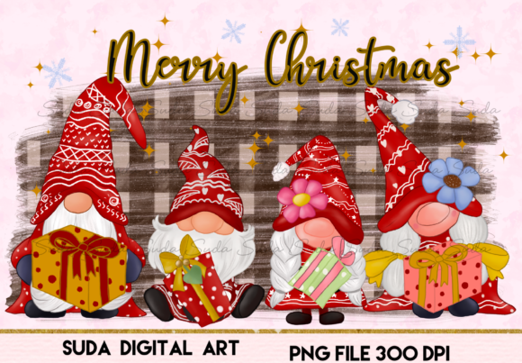 Print on Demand: Christmas Gnomes Family Sublimation Graphic Illustrations By Suda Digital Art