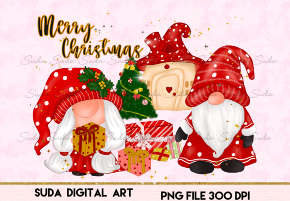 Christmas Gnomes House Sublimation Graphic