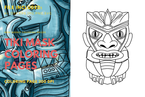 Print on Demand: Coloring Book Polynesian Mask Graphic Graphic Templates By stanosh