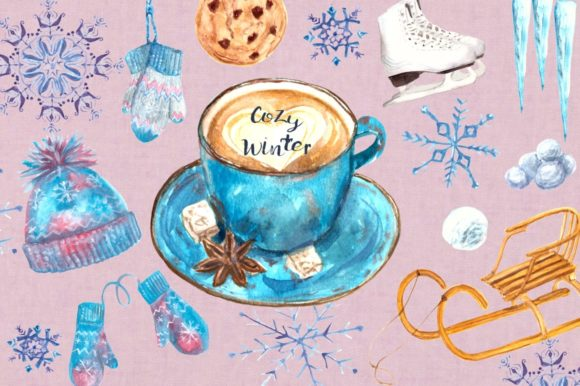 Cozy Winter Watercolor Clip Art Set Graphic Illustrations By tatibordiu