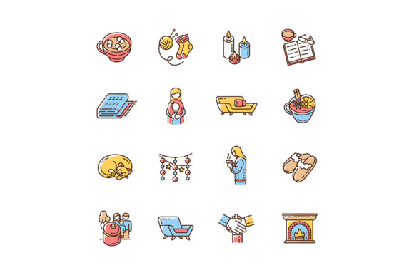 Print on Demand: Cozy Danish Trend RGB Color Icons Set Graphic Icons By bsd studio