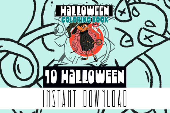 Cute Autumn Halloween Coloring Book Page Graphic Coloring Pages & Books Kids By Rabbit Art