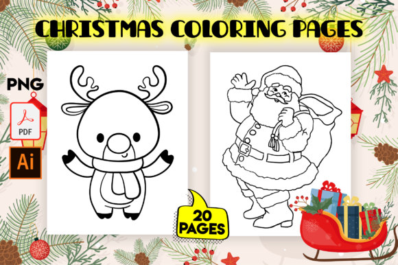 Cute Christmas Coloring Pages for Kids Graphic