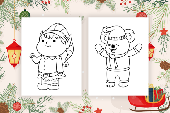 Cute Christmas Coloring Pages for Kids Graphic Download