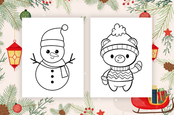 Cute Christmas Coloring Pages for Kids Graphic Item