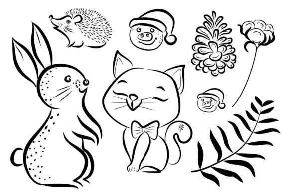 Print on Demand: Cute Christmas Hedgehog and Rabbit Graphic Crafts By PatternHousePk