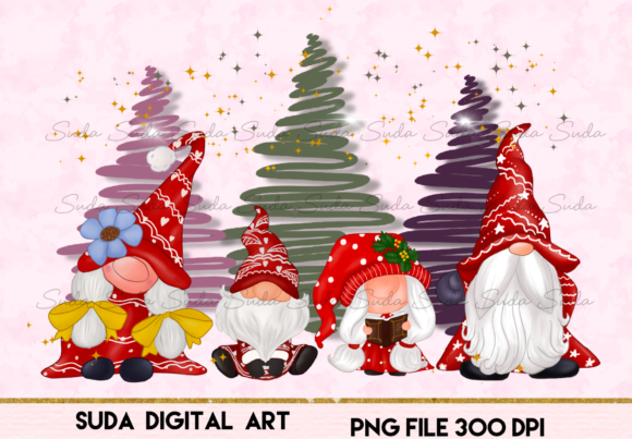 Print on Demand: Cute Family Gnomes Christmas Sublimation Graphic Illustrations By Suda Digital Art