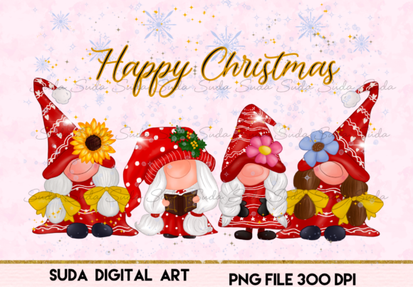 Cute Girl Gnomes Christmas Sublimation Graphic