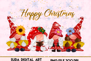 Print on Demand: Cute Girl Gnomes Christmas Sublimation Graphic Illustrations By Suda Digital Art