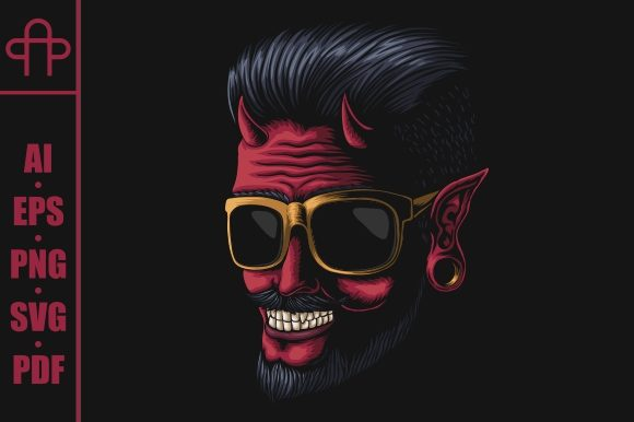 Print on Demand: Devil Man Eyeglasses Vector Illustration Graphic Illustrations By Andypp