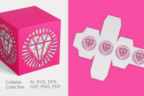 Print on Demand: Diamond Cuttable Cube Gift Box Template Graphic 3D SVG By print.cut.hang