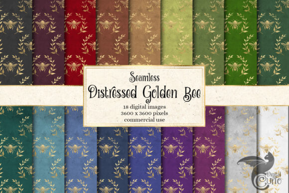 Print on Demand: Distressed Golden Bee Digital Paper Graphic Backgrounds By Digital Curio