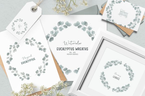 Print on Demand: Eucalyptus Wreath Clipart Graphic Illustrations By Wallifyer