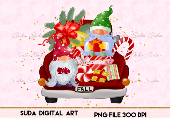 Fall Christmas Truck Sublimation Graphic