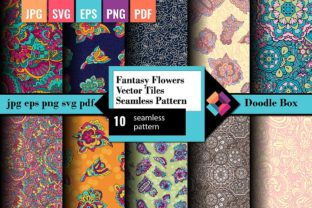 Fantasy Flowers Vector Tiles Seamless Graphic Patterns By DoodleBox