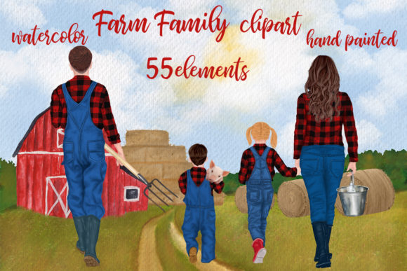 Farm Family Clipart Farm House Farm Mug Gráfico Illustrations Por LeCoqDesign