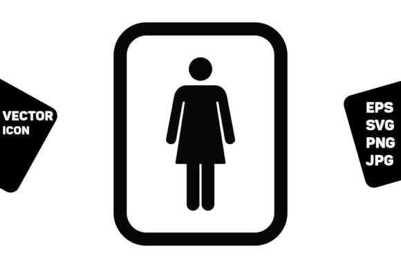 Print on Demand: Female Symbol Icon Vector  Toilet Sign Graphic Icons By TukTuk Design