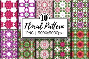 Print on Demand: Floral Mandala Patterns | Digital Papers Grafik Hintegründe von Fayne