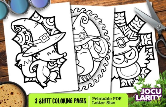 Fox, Lobster and Owl in Halloween Mode Graphic Coloring Pages & Books Kids By JocularityArt