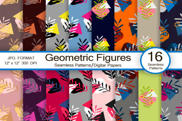 Geometric Figures Seamless Patterns Graphic Patterns By FolkStyleStudio