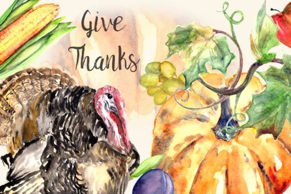 Give Thanks - Watercolor Clipart Set Graphic Illustrations By tatibordiu
