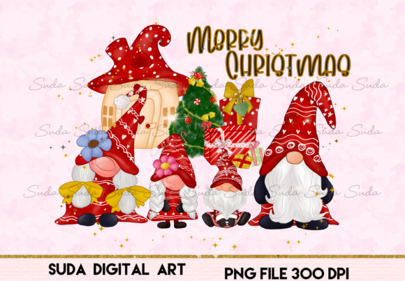 Print on Demand: Gnomes Family Christmas Sublimation Graphic Illustrations By Suda Digital Art