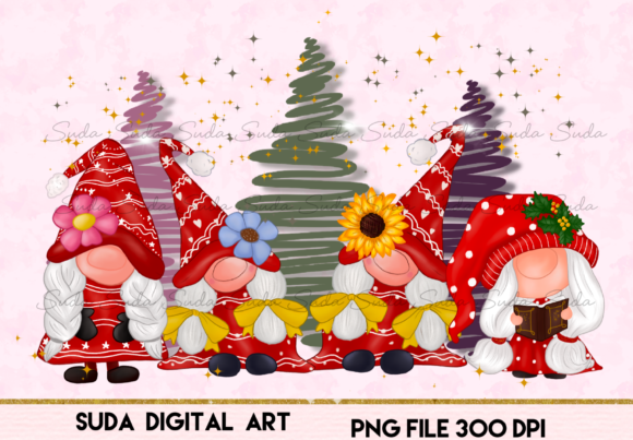 Gnomes Girl Christmas Design Sublimation Graphic