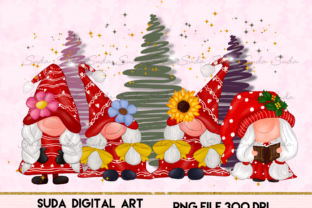 Print on Demand: Gnomes Girl Christmas Design Sublimation Graphic Illustrations By Suda Digital Art