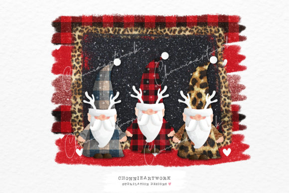 Gnomes with Plaid Background Graphic Crafts By Chonnieartwork
