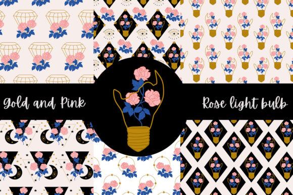 Print on Demand: Gold and Pink Rose Light Bulb Graphic Illustrations By Andreea Eremia Design